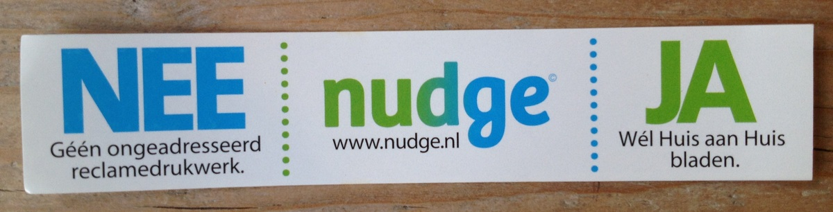 De gratis nee ja sticker van Nudge